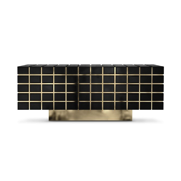 Hive Black Lacquer & Golden Brass Luxury Sideboard