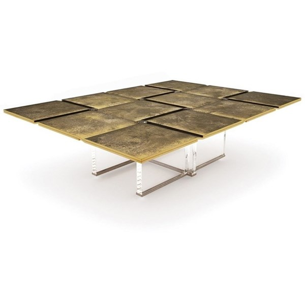 Idyllic Brass Patina And Stainless Steel Acrylic Outdoor Centre Table