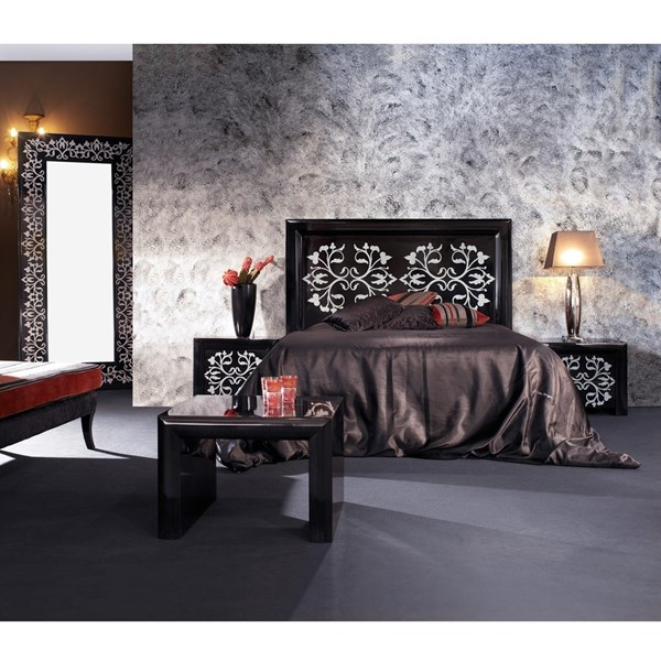Black gloss and white detail King Size bed with headboard