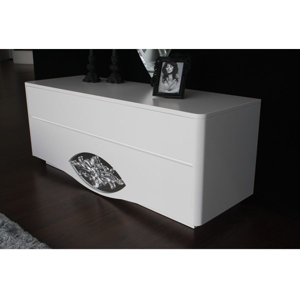 High gloss white chest of drawers with mirror and carving detail