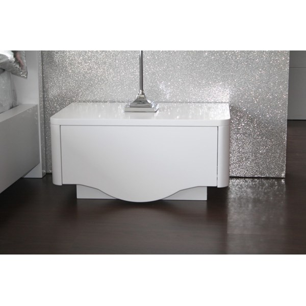 High gloss white designer bedside table