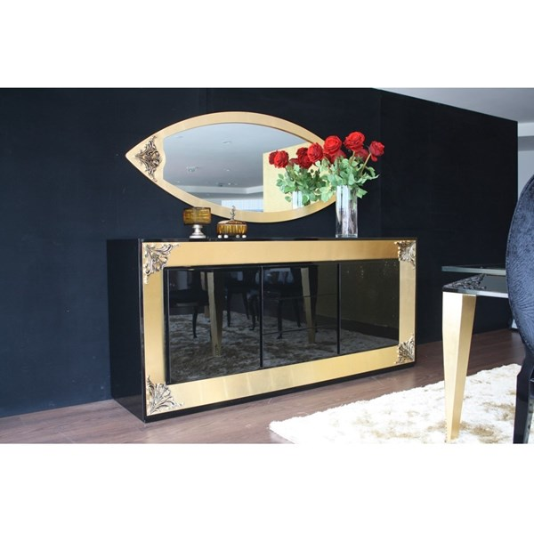 High Gloss Black & Gold Leaf Sideboard with Carvings