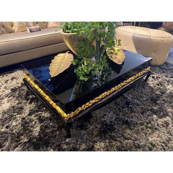 Ex-display Black gloss & gold leaf coffee table