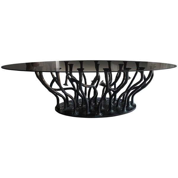 Impress Caliber Outdoor Glass & Bronze Fibreglass Oval Dining Table