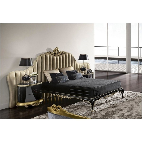 Luxury Gold and black gloss carved bedstead