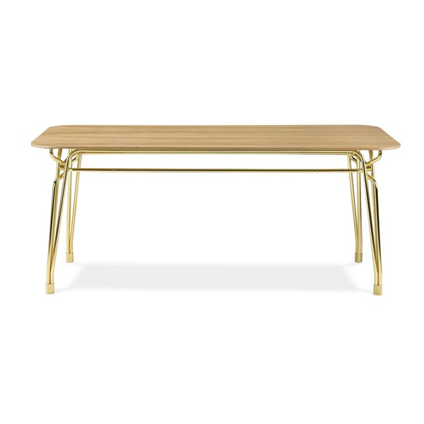 Korina Woven Brass Dining Table
