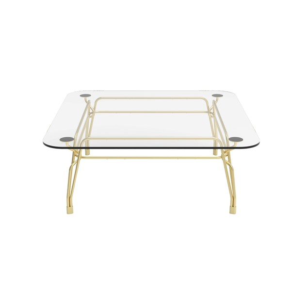 Korina Woven Brass Square Coffee Table