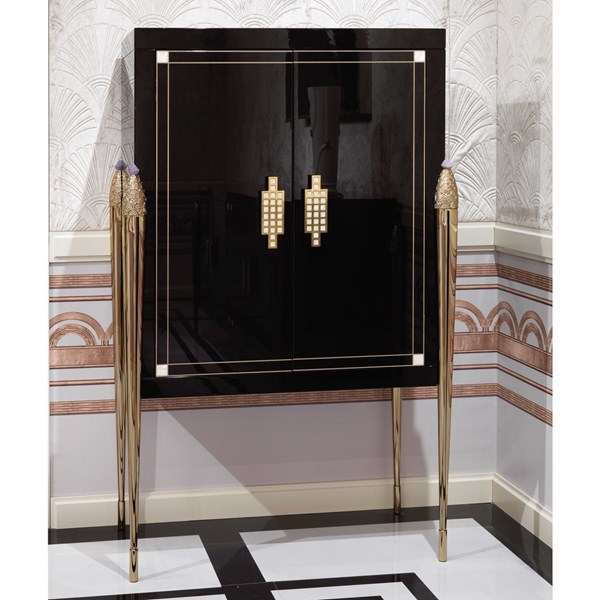 Romeo Italian Lacquered Brass & Mother Of Pearl Bar Cabinet