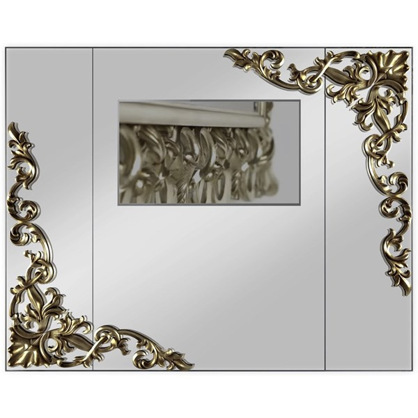 Lacquered Patina Leafed Carved Rectangle Mirror With Media System