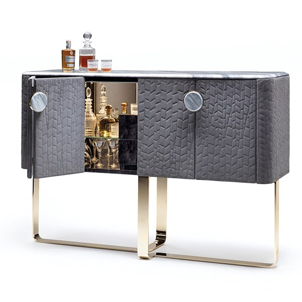 Bevelled Marble & Quilted Lagra Bar Cabinet