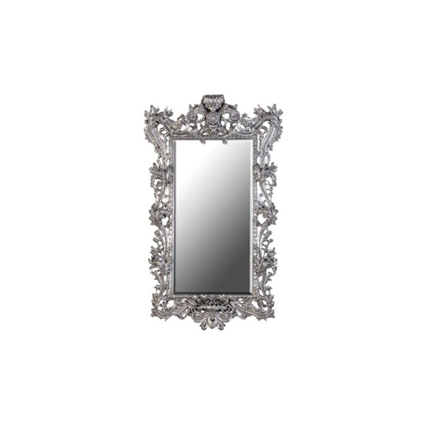 Large ornate French silver mirror