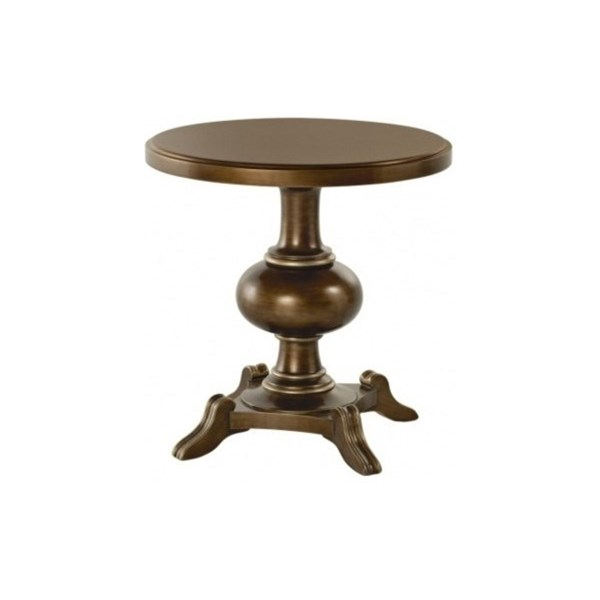 Carved Cherry Wood Antique Bronze Round Glamour Cocktail Table