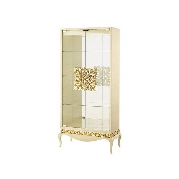 French glossy rustic cream display cabinet with carved handles