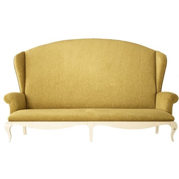 French Glossy white and gold fabric high back sofa
