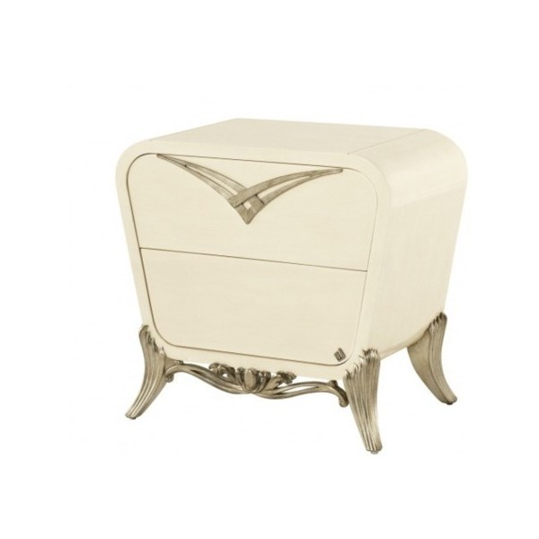 Spacium high gloss and silver leaf side table with 2 drawers