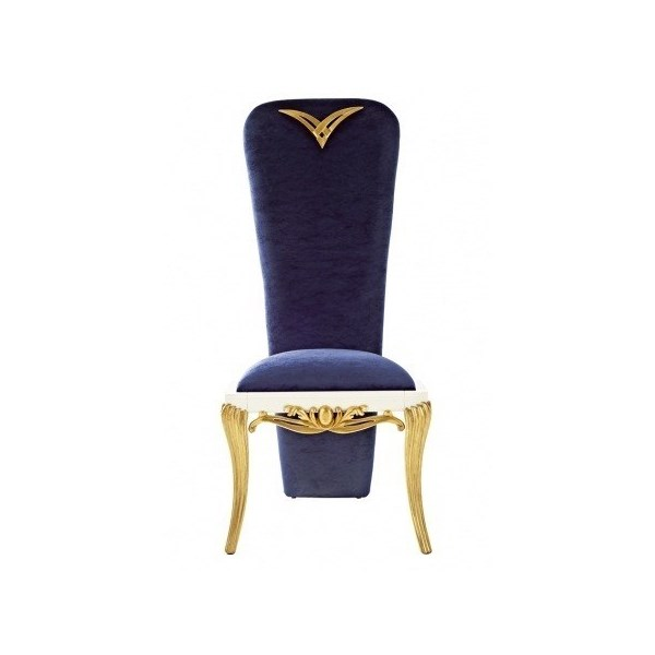 Elegant royal blue high back chair with gold leaf