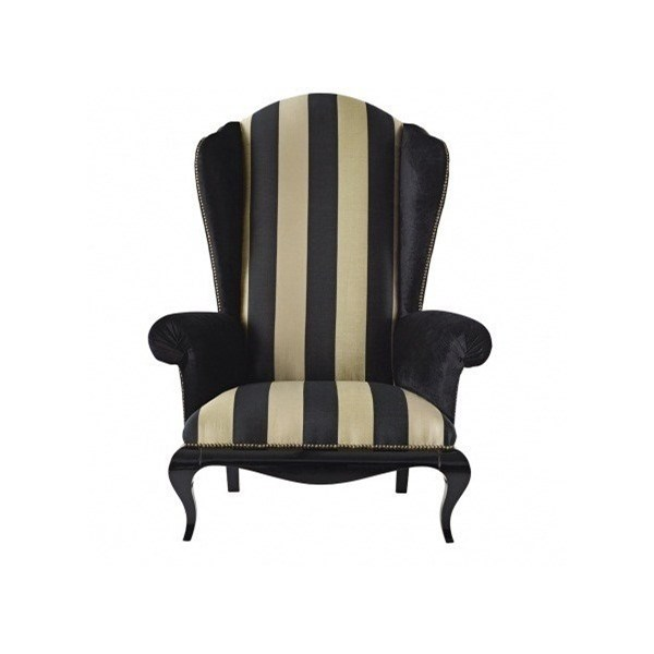 Carved High Back Upholstered Love Seat / Armchair With Gold Nail Trim