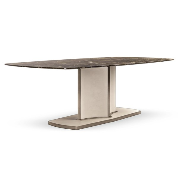 Lusso Mistic Brown Marble & Leather Rectangular Dining Table