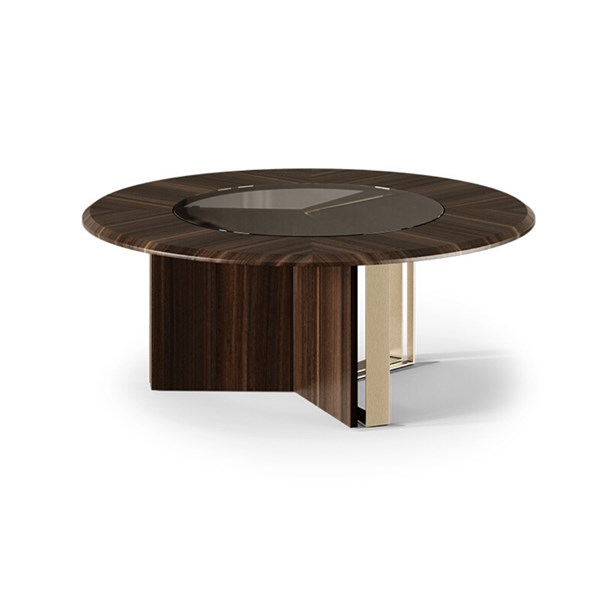 Luxe Wood & Aged Brass Coffee Table