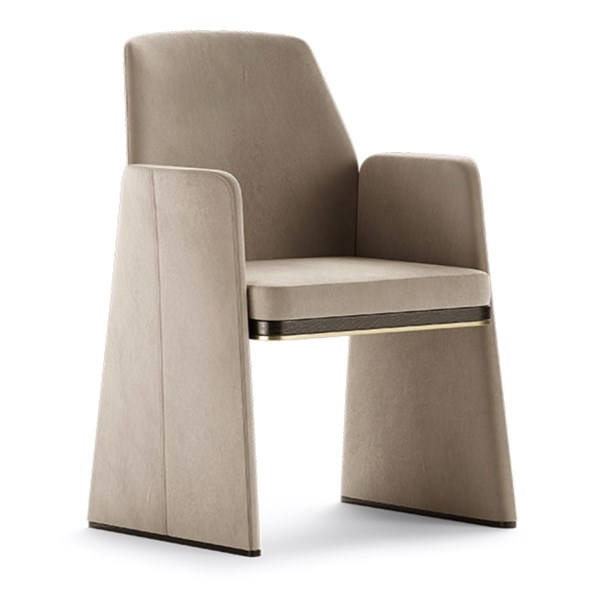 Luxury Carvalho Dining Chair with Brushed Brass Trim