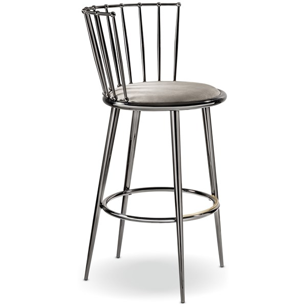 Luxury Curved Black Nickel Bar Chair