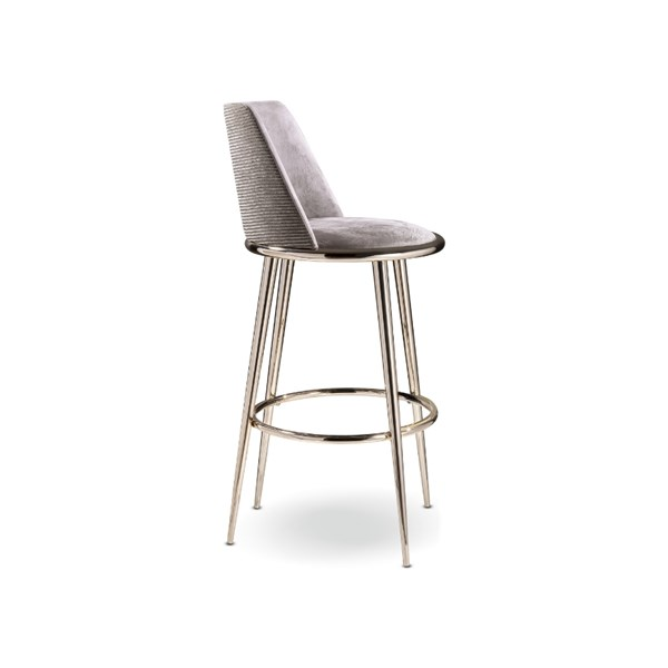 Luxury Curved Padded Golden Bar Stool