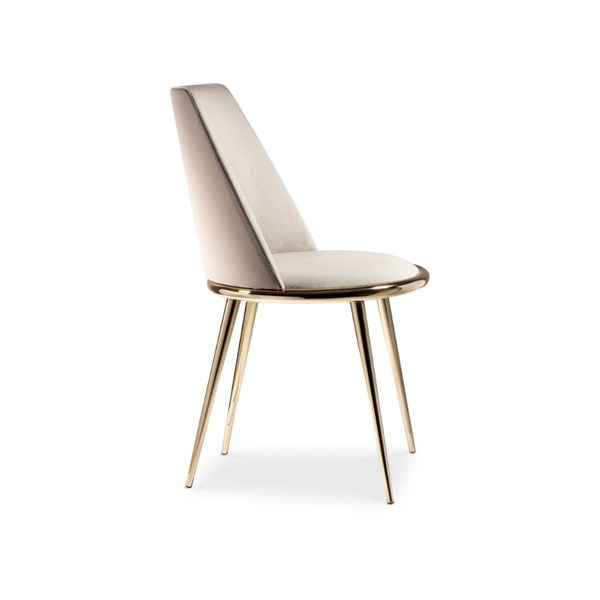 Luxury Curved Padded Golden Dining Chair