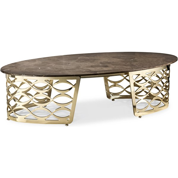 Luxury Oval Italian Coffee Table with Marble Top