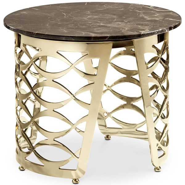 Luxury Round Italian Coffee Table with Marble Top
