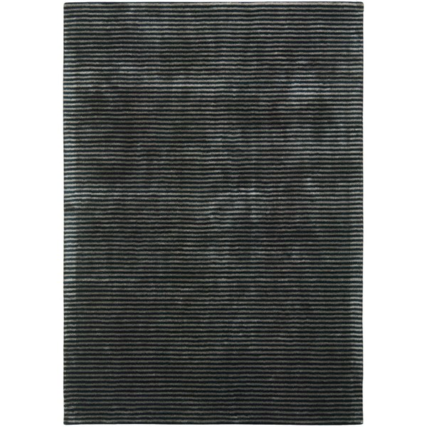 Luxury sheen stripe deep pile black and champagne gold rug