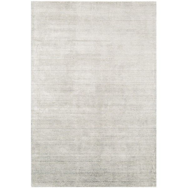 Luxury viscose and wool geometric weave pattern silver rug