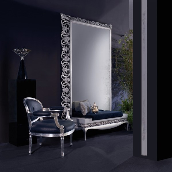 Designer velvet and silver bench with carving