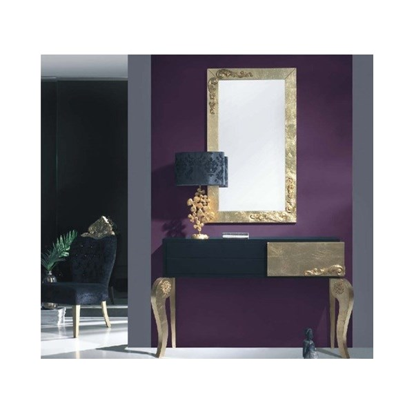 Luxus Carved Black and Gold Leaf Console Table