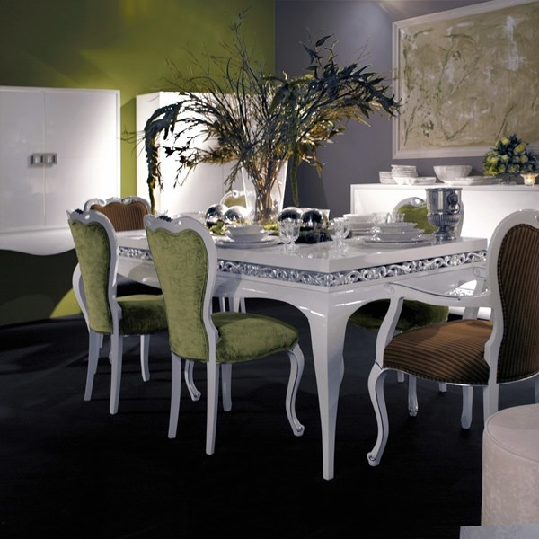 White gloss and fabric dining armchair
