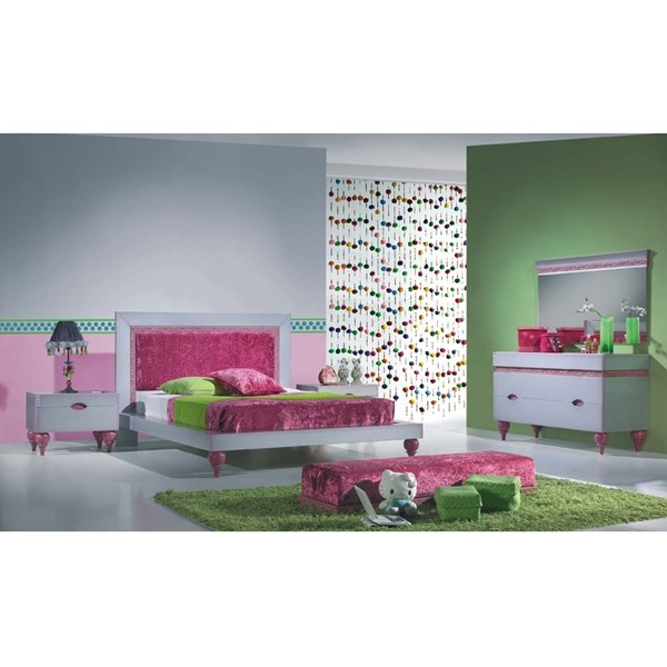 Luxus Upholstered Crushed Velvet Pink & Silver Children's Bedstead