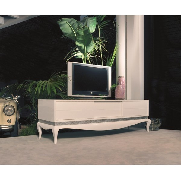 White gloss TV base with 2 sliding doors with silver Niagara