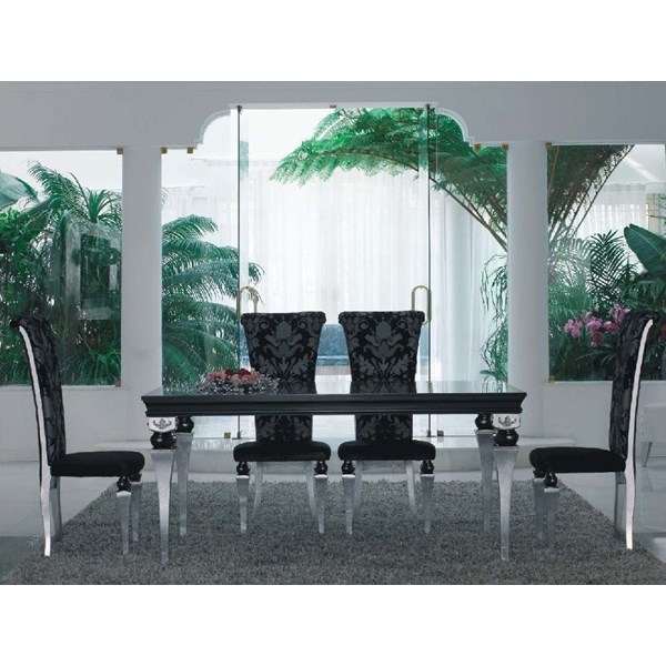 Magnus Black And Silver Leaf Dining Table