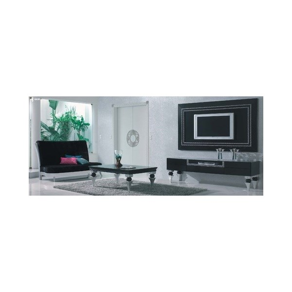 Magnus Black And Silver Leaf Living Room Set Collection