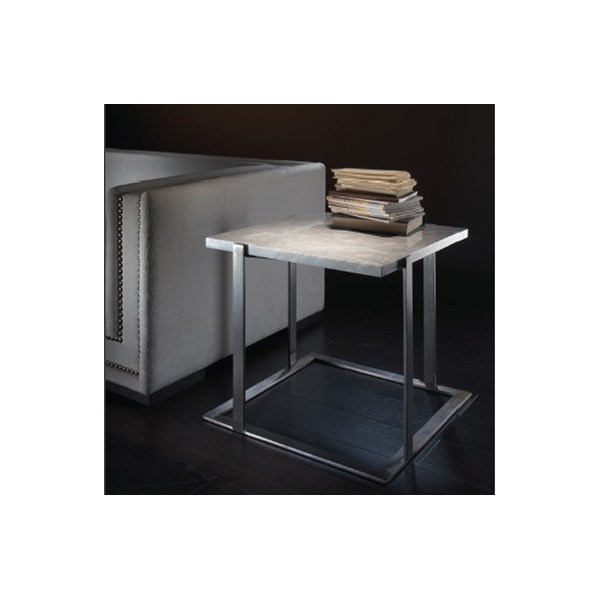 White Marble And Silver Steel Square Side Table