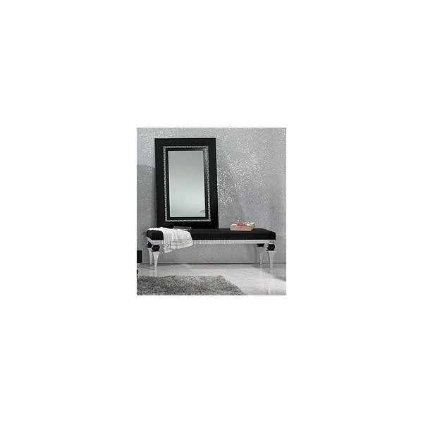 Magnus Black & Silver Leaf Framed Rectangle Mirror