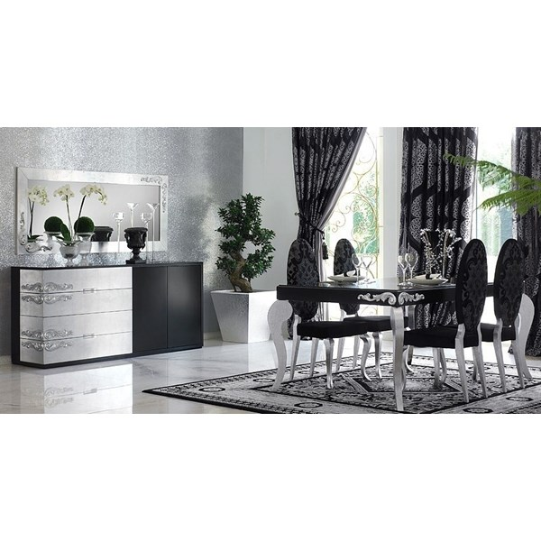 Luxus Carved Black and Silver Leaf Dining Set Collection