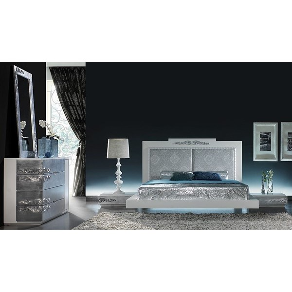 Luxus Carved White And Silver Leaf Floating Bedroom Set