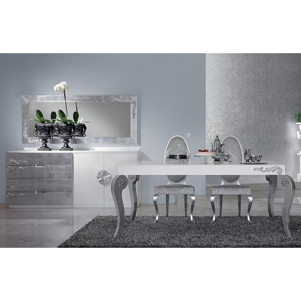 Luxus Carved White And Silver Leaf Dining Set Collection