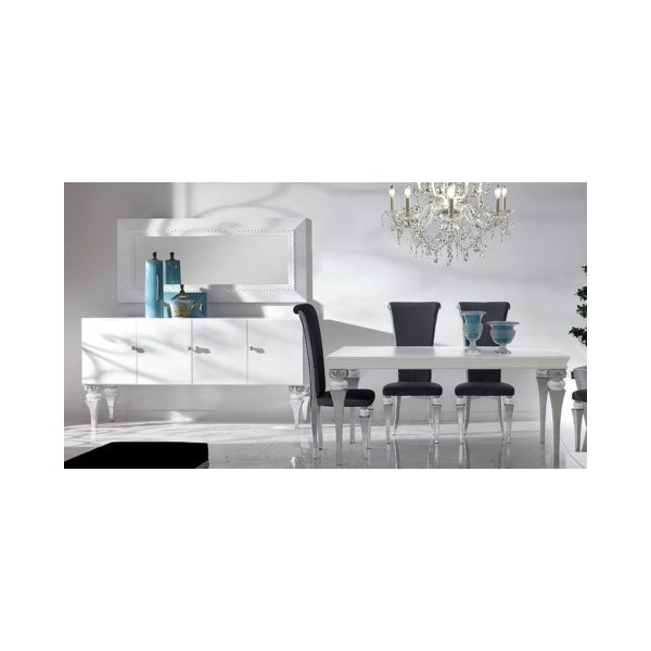 Magnus French White And Silver Leaf Dining Set Collection