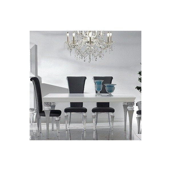 Magnus White And Silver Leaf Dining Table