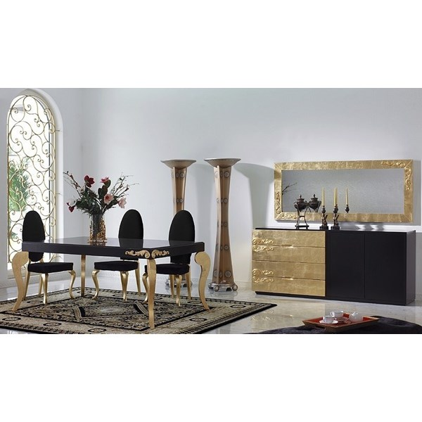 Luxus Black and Gold Leaf Dining Set Collection
