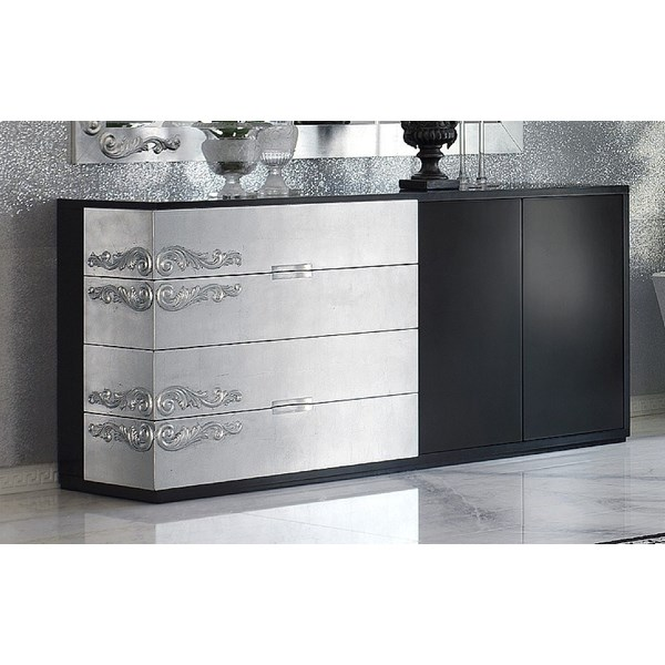 Luxus Carved Black and Silver Leaf Sideboard