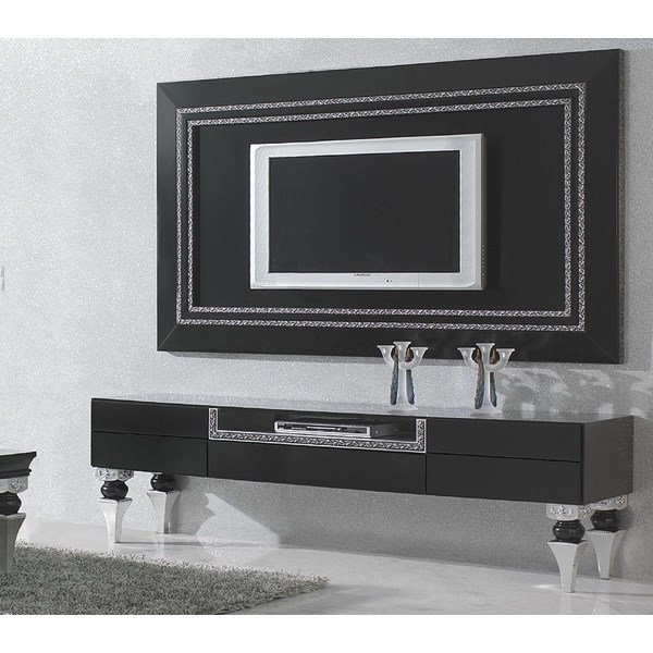 Magnus Bevelled Black and Silver Leaf TV Frame