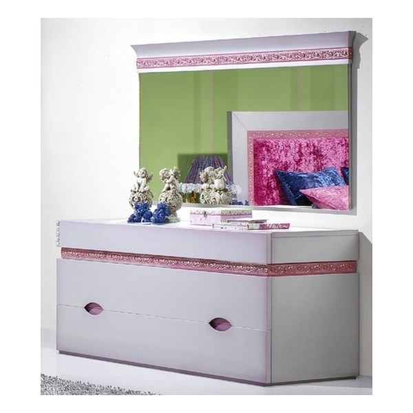 Luxus Carved Silver And Pink Children's Chest Of Drawers