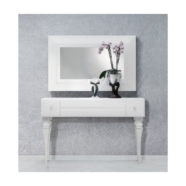 Magnus Bevelled White And Silver Leaf Rectangle Mirror